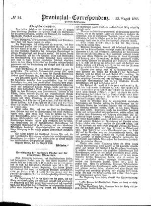 Provinzial-Correspondenz vom 22.08.1866