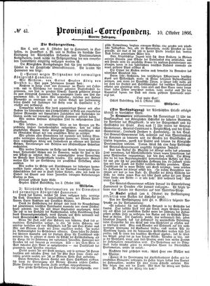 Provinzial-Correspondenz vom 10.10.1866