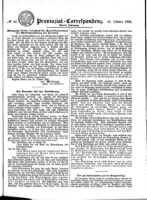 Provinzial-Correspondenz vom 31.10.1866