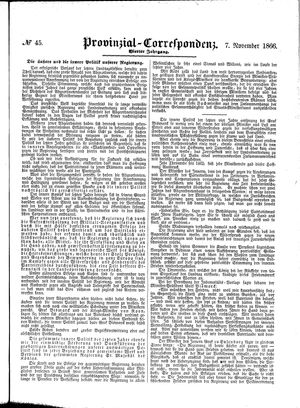 Provinzial-Correspondenz on Nov 7, 1866