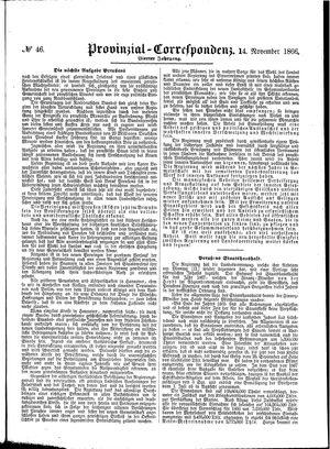 Provinzial-Correspondenz vom 14.11.1866