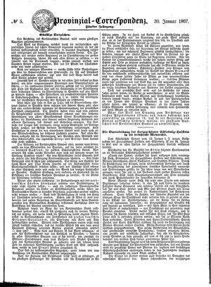 Provinzial-Correspondenz vom 30.01.1867