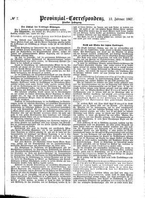 Provinzial-Correspondenz vom 13.02.1867