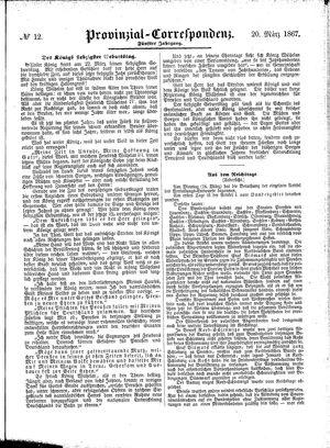 Provinzial-Correspondenz on Mar 20, 1867