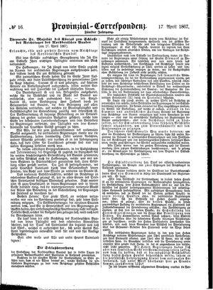 Provinzial-Correspondenz on Apr 17, 1867