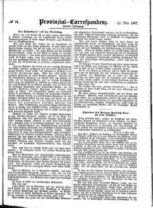 Provinzial-Correspondenz vom 22.05.1867