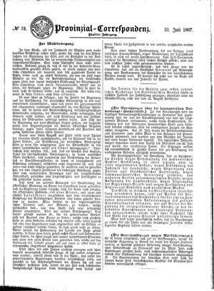 Provinzial-Correspondenz on Jul 31, 1867