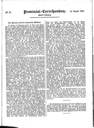Provinzial-Correspondenz vom 14.08.1867