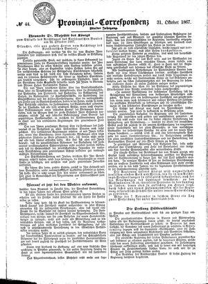 Provinzial-Correspondenz vom 31.10.1867