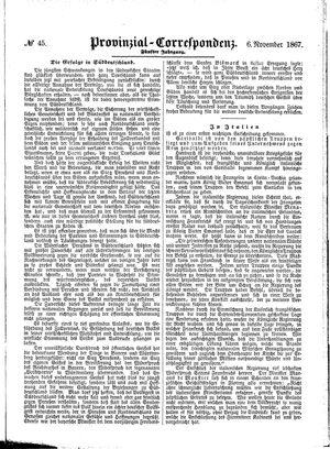 Provinzial-Correspondenz vom 06.11.1867