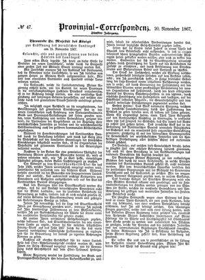 Provinzial-Correspondenz vom 20.11.1867