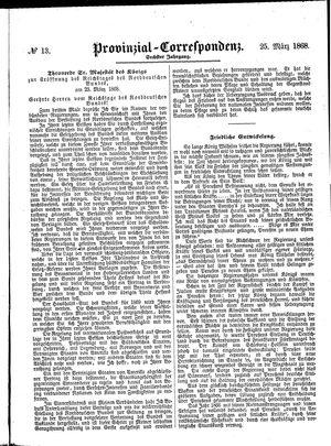 Provinzial-Correspondenz vom 25.03.1868