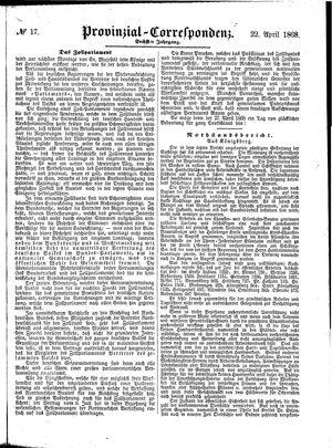 Provinzial-Correspondenz vom 22.04.1868