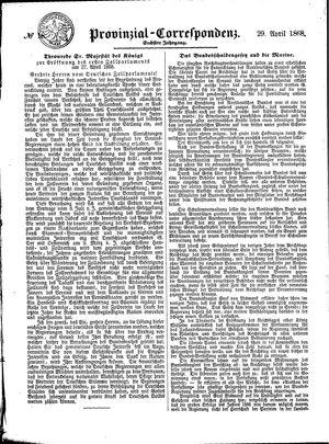 Provinzial-Correspondenz on Apr 29, 1868