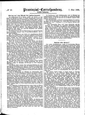 Provinzial-Correspondenz vom 07.05.1868