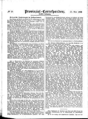 Provinzial-Correspondenz vom 13.05.1868