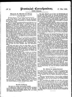 Provinzial-Correspondenz vom 27.05.1868