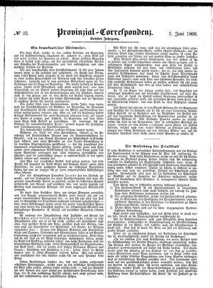 Provinzial-Correspondenz vom 03.06.1868