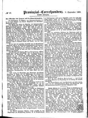 Provinzial-Correspondenz vom 09.09.1868