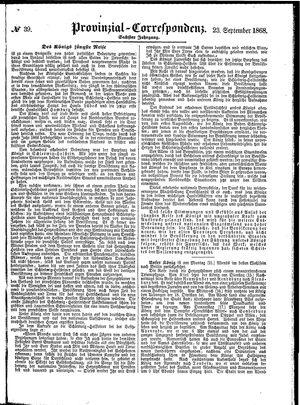 Provinzial-Correspondenz vom 23.09.1868