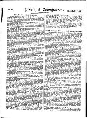 Provinzial-Correspondenz vom 21.10.1868