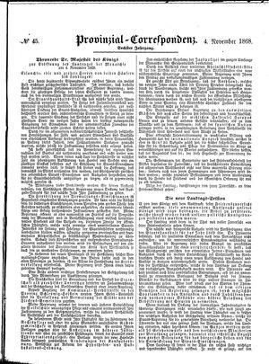Provinzial-Correspondenz vom 04.11.1868