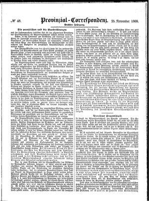Provinzial-Correspondenz vom 25.11.1868