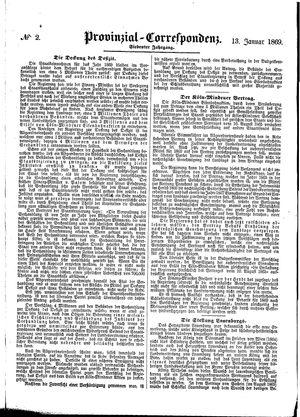 Provinzial-Correspondenz vom 13.01.1869