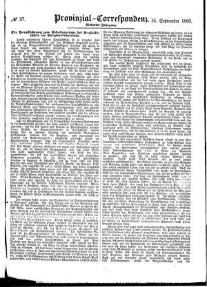 Provinzial-Correspondenz vom 15.09.1869