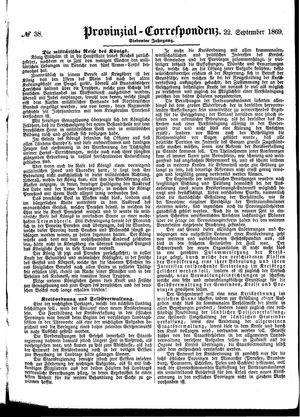 Provinzial-Correspondenz vom 22.09.1869