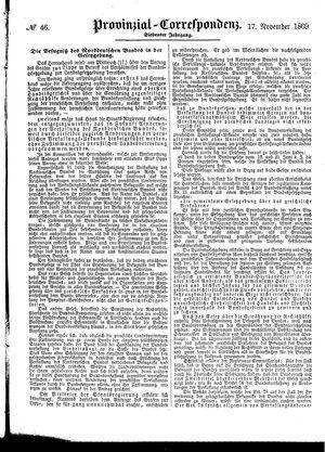 Provinzial-Correspondenz vom 17.11.1869