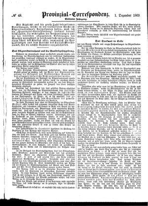 Provinzial-Correspondenz vom 01.12.1869