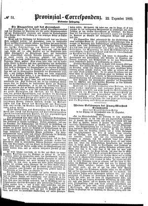 Provinzial-Correspondenz on Dec 22, 1869