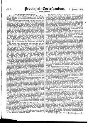 Provinzial-Correspondenz vom 05.01.1870