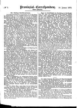 Provinzial-Correspondenz vom 19.01.1870