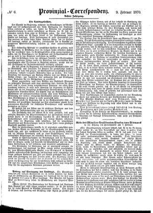 Provinzial-Correspondenz vom 09.02.1870