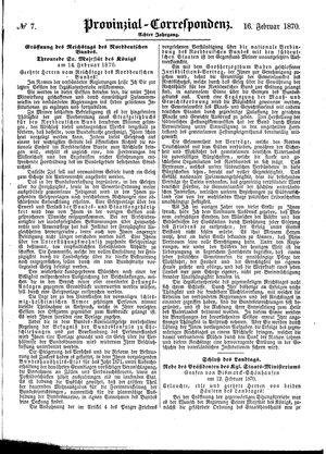 Provinzial-Correspondenz vom 16.02.1870