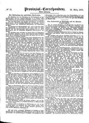 Provinzial-Correspondenz vom 16.03.1870