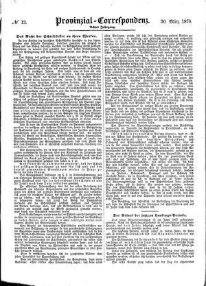 Provinzial-Correspondenz vom 30.03.1870