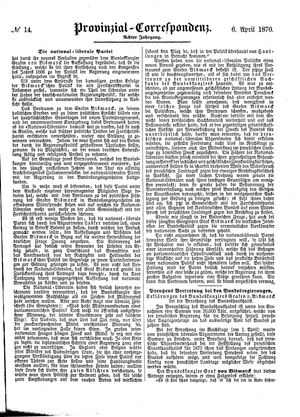 Provinzial-Correspondenz vom 06.04.1870