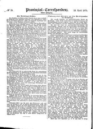 Provinzial-Correspondenz vom 13.04.1870