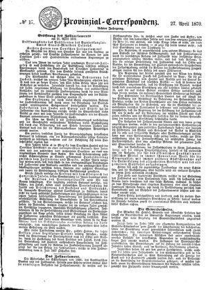 Provinzial-Correspondenz vom 27.04.1870