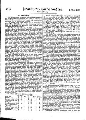 Provinzial-Correspondenz vom 04.05.1870