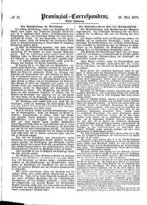 Provinzial-Correspondenz vom 25.05.1870