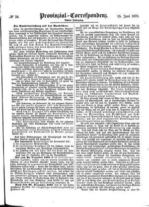 Provinzial-Correspondenz vom 15.06.1870