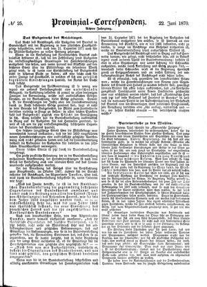 Provinzial-Correspondenz vom 22.06.1870