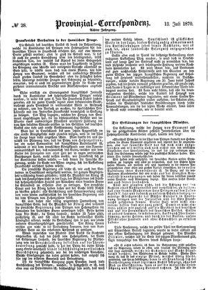 Provinzial-Correspondenz vom 13.07.1870