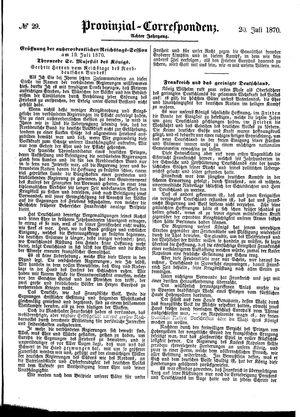 Provinzial-Correspondenz vom 20.07.1870