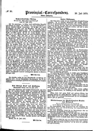 Provinzial-Correspondenz vom 26.07.1870