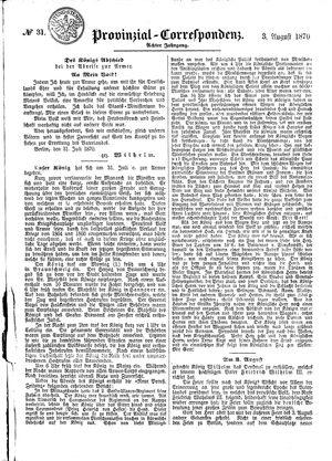 Provinzial-Correspondenz vom 03.08.1870